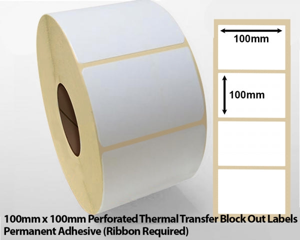 100 x 100mm Perforated Thermal Transfer Block Out Labels - Permanent Adhesive