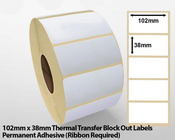 102 x 38mm Thermal Transfer Block Out Labels - Permanent Adhesive