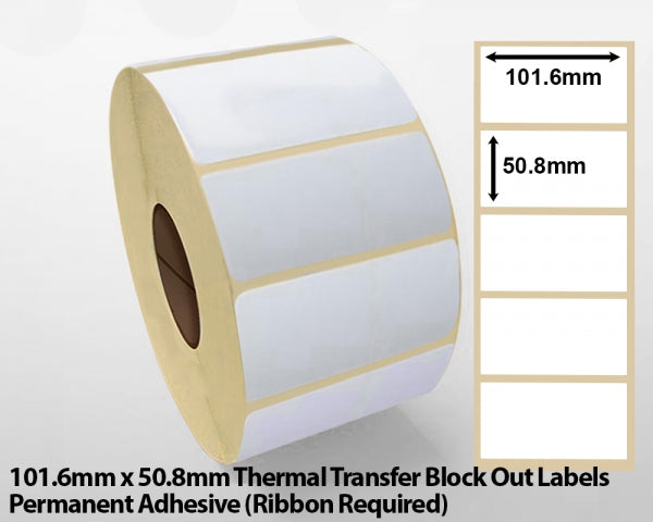 101.6 x 50.8mm Thermal Transfer Block Out Labels - Permanent Adhesive