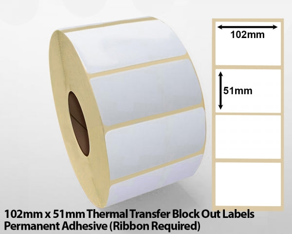 102 x 51mm Thermal Transfer Block Out Labels - Permanent Adhesive