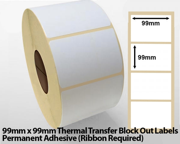 99 x 99mm Thermal Transfer Block Out Labels - Permanent Adhesive
