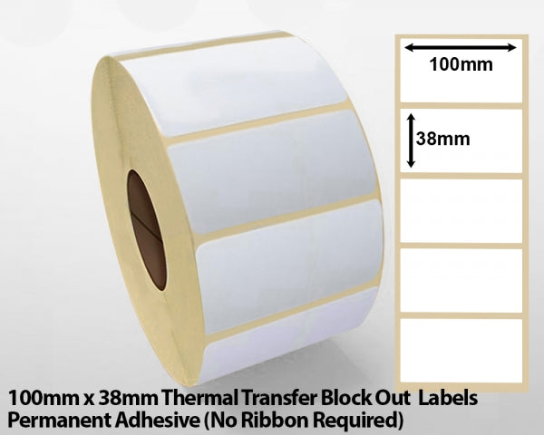 100 x 38mm Thermal Transfer Block Out Labels - Permanent Adhesive