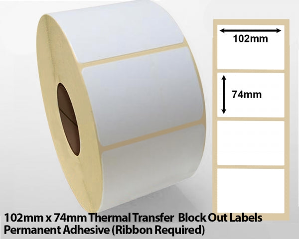 102 x 74mm Thermal Transfer Block out Labels - Permanent Adhesive