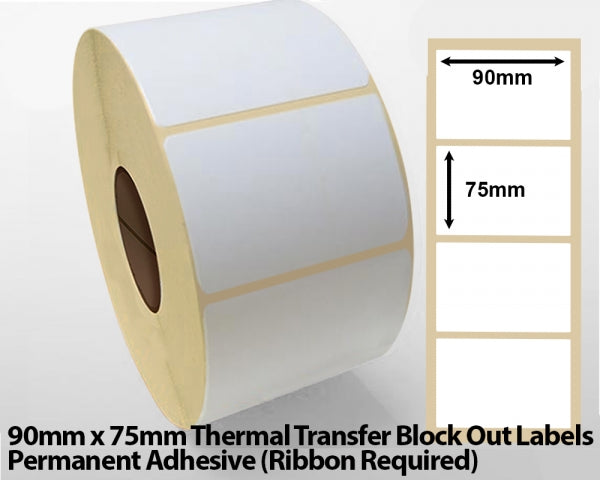 90 x 75mm Thermal Transfer Block Out Labels - Permanent Adhesive