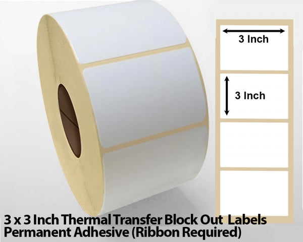 3 x 3 Inch Thermal Transfer Block Out Labels - Permanent Adhesive