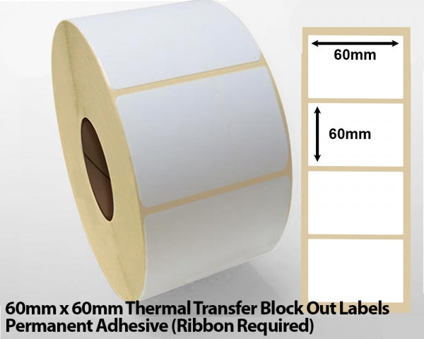 60 x 60mm Thermal Transfer Block Out Labels - Permanent Adhesive