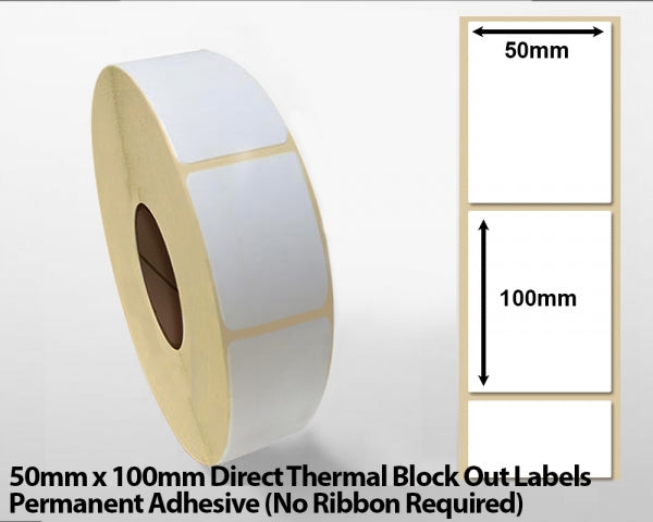 50 x 100mm Thermal Transfer Block Out Labels - Permanent Adhesive