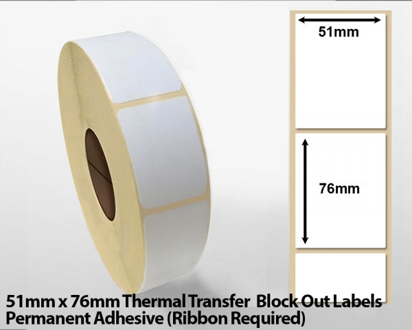 51 x 76mm Thermal Transfer Block Out Labels - Permanent Adhesive