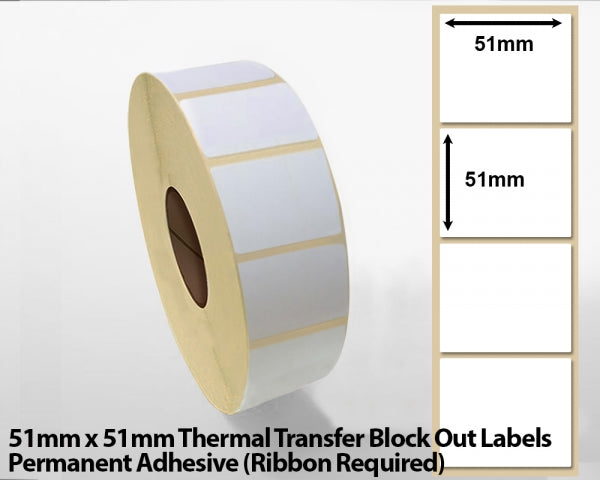 51 x 51mm Thermal Transfer Block Out Labels - Permanent Adhesive