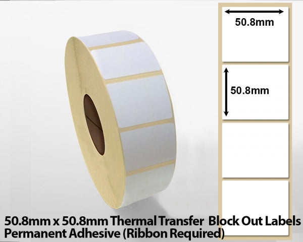50.8 x 50.8mm Thermal Transfer Block Out Labels - Permanent Adhesive