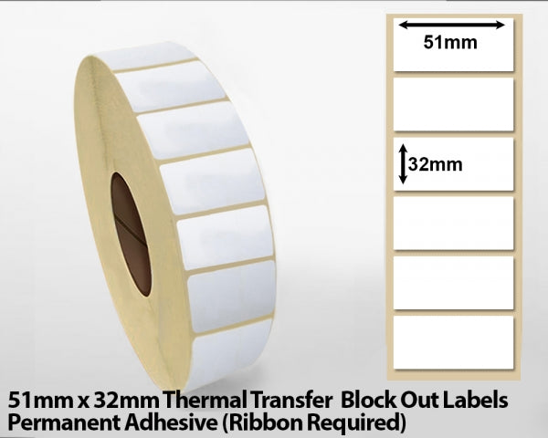 51 x 32mm Thermal Transfer Block Out Labels - Permanent Adhesive