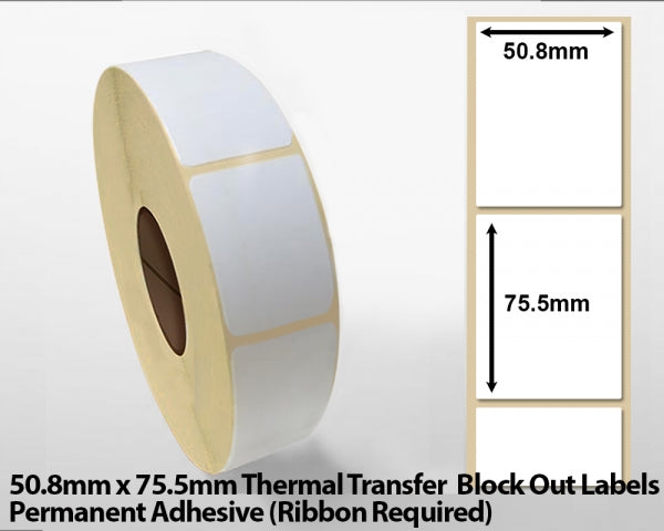 50.8 x 75.5mm Thermal Transfer Block Out Labels - Permanent Adhesive
