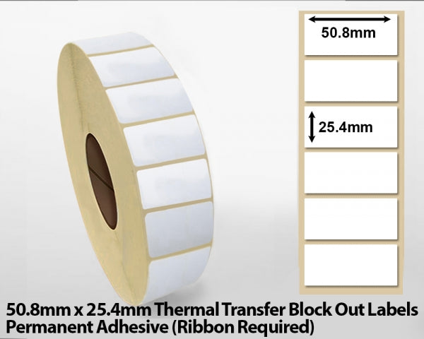 50.8 x 25.4mm Thermal Transfer Block Out Labels - Permanent Adhesive