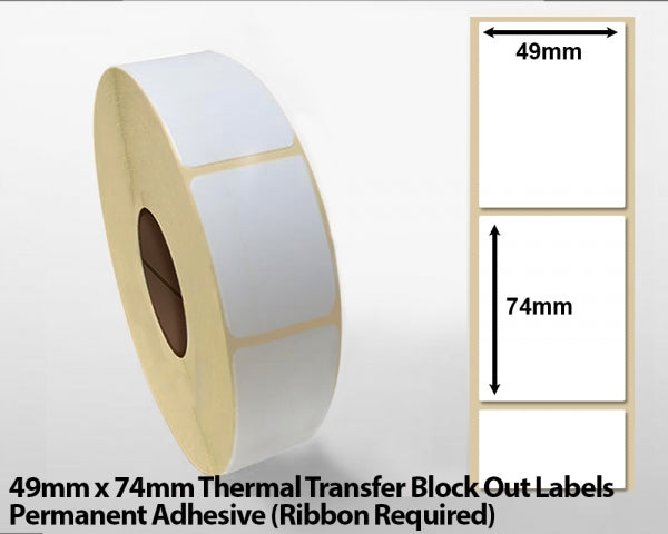 49 x 74mm Thermal Transfer Block Out Labels - Permanent Adhesive