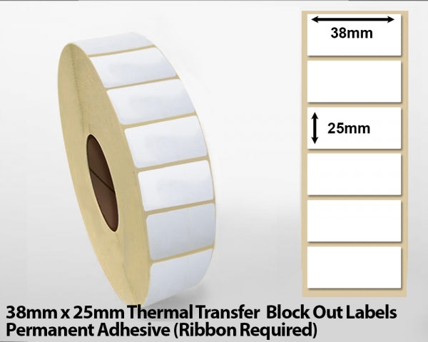 38 x 25mm Thermal Transfer Block Out Labels - Permanent Adhesive