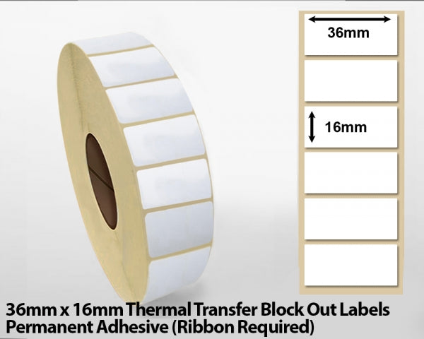 36 x 16mm Thermal Transfer Block Out Labels - Permanent Adhesive