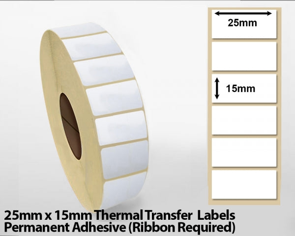 25 x 15mm Thermal Transfer Block Out Labels - Permanent Adhesive
