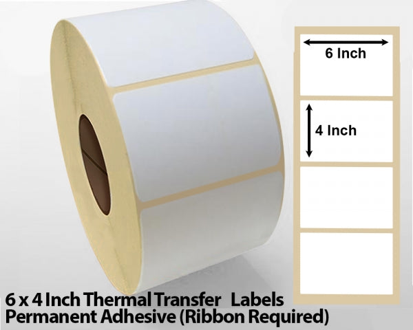 6 x 4 Inch Thermal Transfer Block Out Labels - Permanent Adhesive
