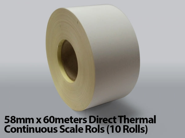 58mm x 60meters Direct Thermal Continuous Scale Rolls