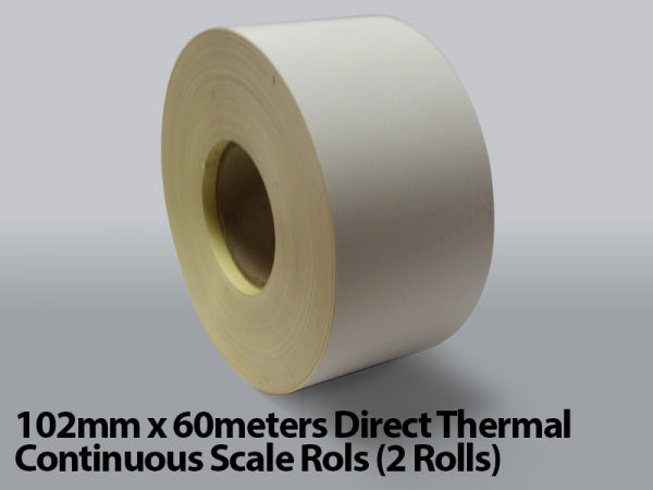 102mm x 60meters Direct Thermal Continuous Scale Rolls