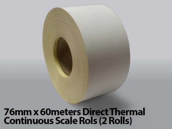 76mm x 60meters Direct Thermal Continuous Scale Rolls