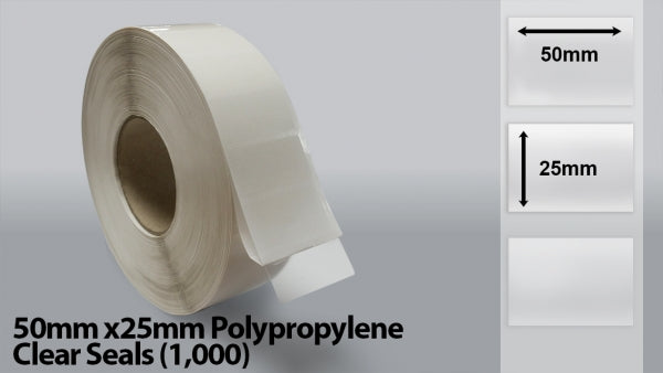 50mm x 25mm Polypropylene Clear Seals  (1000)