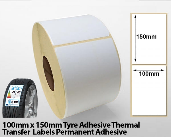 100 x 150mm Tyre Adhesive Thermal Transfer Labels - Permanent Adhesive