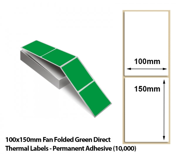 100x150mm Fan Folded Green Direct Thermal Labels - Permanent Adhesive (10000)