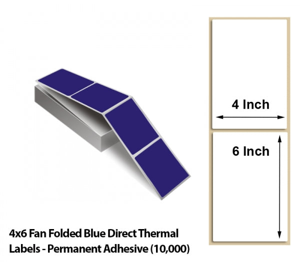 4x6 Fan Folded Blue Direct Thermal Labels - Permanent Adhesive (10000)