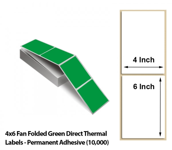 4x6 Fan Folded Green Direct Thermal Labels - Permanent Adhesive (10000)