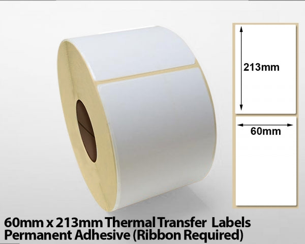 60 x 213mm thermal transfer labels - Removable adhesive