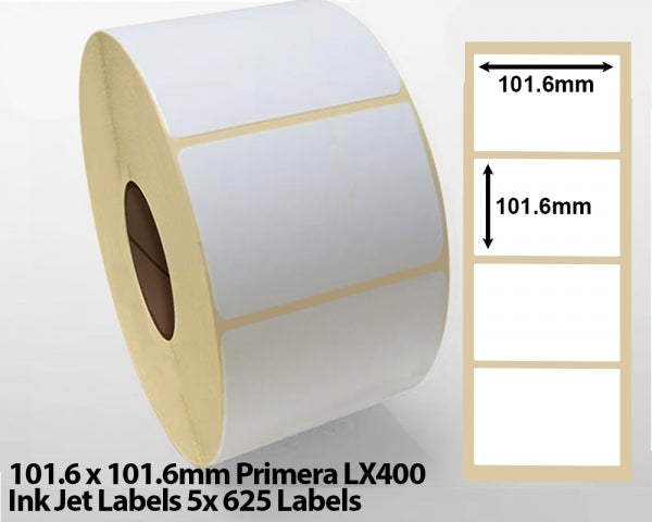 101.6 x 101.6mm Primera LX400 Ink Jet Labels 5x 625 Labels