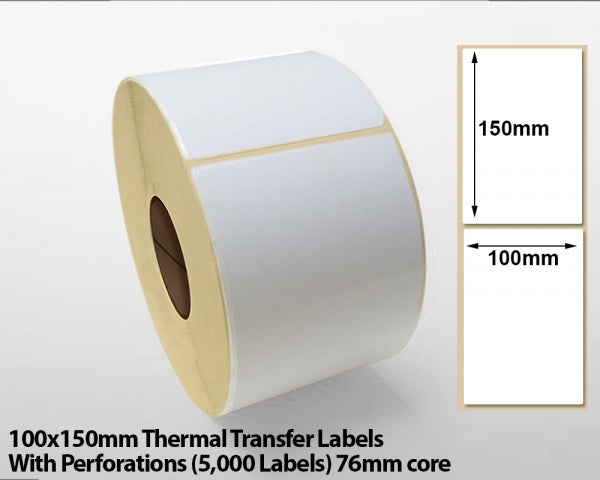 100x150mm Thermal Transfer Labels With Perforations (5000 Labels) 76mm core