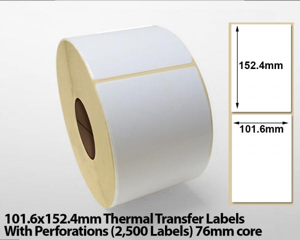 101.6x152.4mm Thermal Transfer Labels with Perforations (2500 Labels) 76 mm core