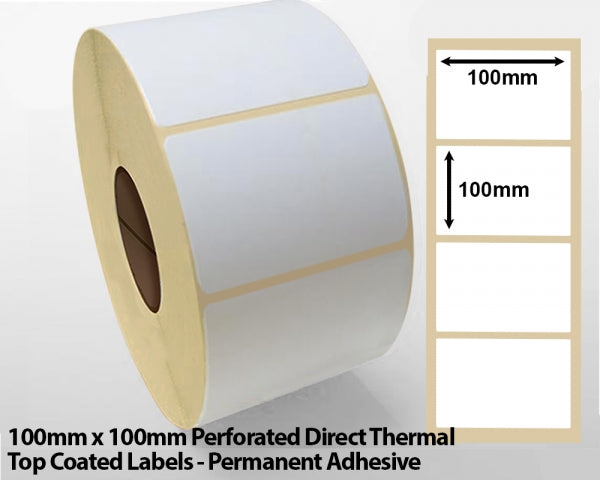 100 x 100mm Direct Thermal Top Coated Labels with Perforations - Permanent Adhesive