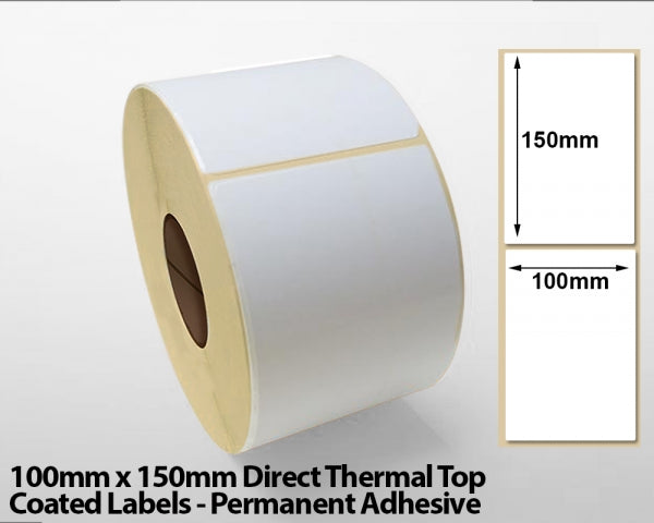 100 x 150mm Direct Thermal Top Coated Labels - Permanent Adhesive