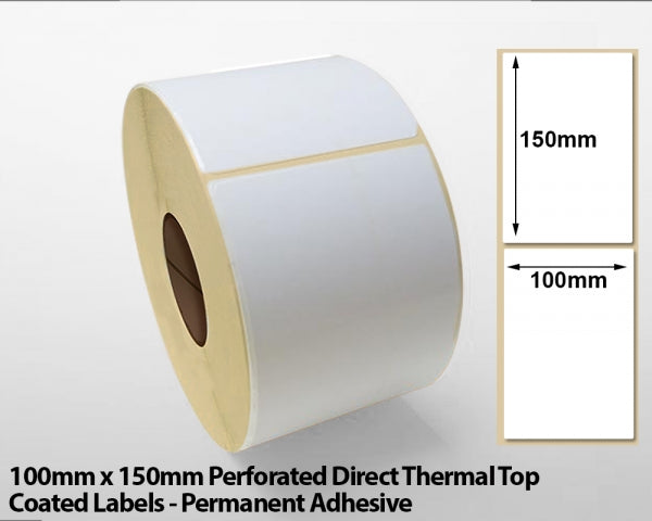 100 x 150mm Direct Thermal Top Coated Labels with Perforations - Permanent Adhesive