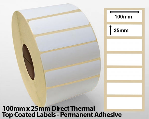 100 x 25mm Direct Thermal Top Coated Labels - Permanent Adhesive