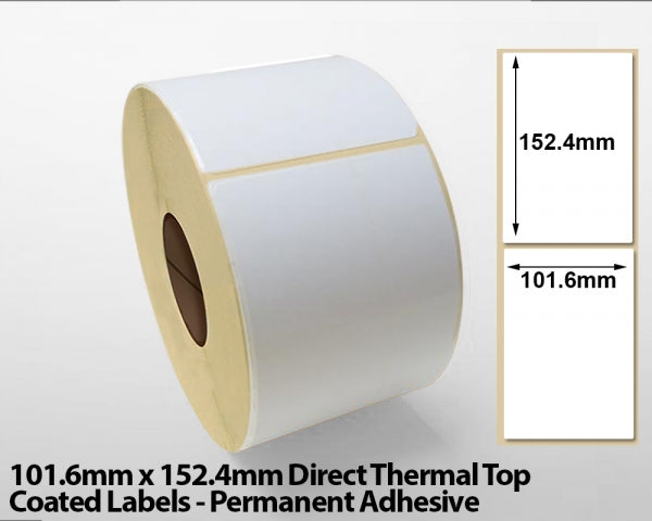 101.6 x 152.4mm Direct Thermal Top Coated Labels - Permanent Adhesive