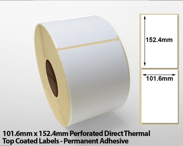 101.6 x 152.4mm Direct Thermal Top Coated Labels with Perforations - Permanent Adhesive