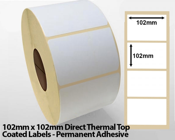 102 x 102mm Direct Thermal Top Coated Labels - Permanent Adhesive