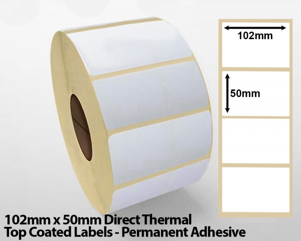 102 x 50mm Direct Thermal Top Coated Labels - Permanent Adhesive