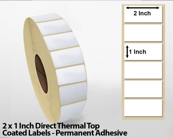 2 x 1 Inch Direct Thermal Top Coated Labels - Permanent Adhesive