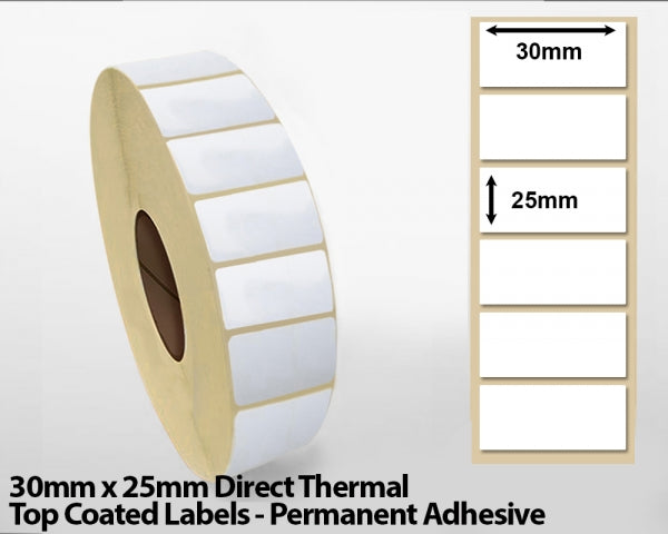30 x 25mm Direct Thermal Top Coated Labels - Permanent Adhesive