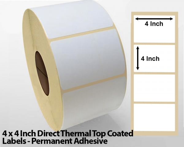 4 x 4 Inch Direct Thermal Top Coated Labels - Permanent Adhesive