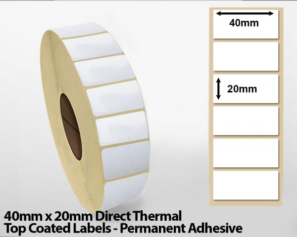 40 x 20mm Direct Thermal Top Coated Labels - Permanent Adhesive