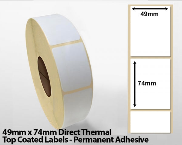 49 x 74mm Direct Thermal Top Coated Labels - Permanent Adhesive