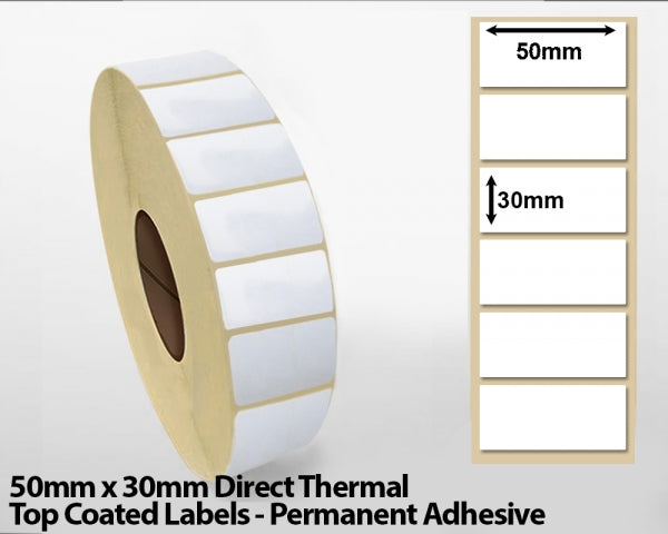 50 x 30mm Direct Thermal Top Coated Labels - Permanent Adhesive