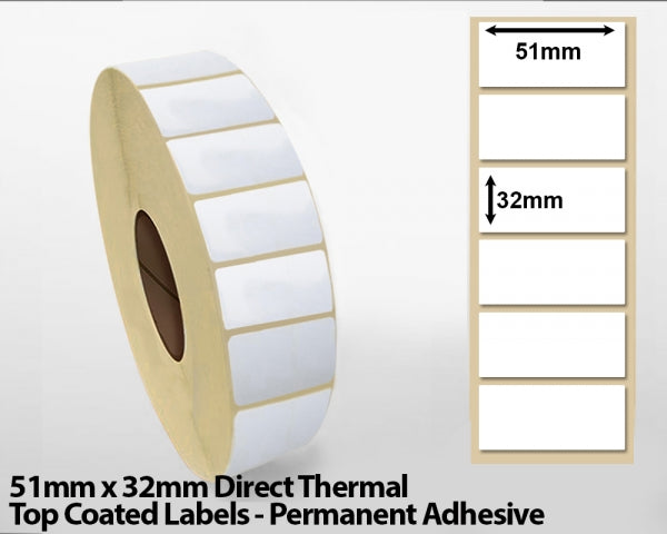 51 x 32mm Direct Thermal Top Coated Labels - Permanent Adhesive