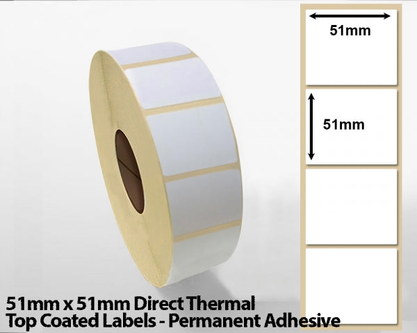 51 x 51mm Direct Thermal Top Coated Labels - Permanent Adhesive